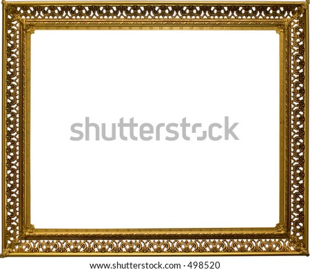 Antique fold filigree frame. Some grunge and wear intact.Work path for all white spaces. Just drop in your image.
