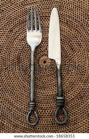 antique fork and knife - stock photo