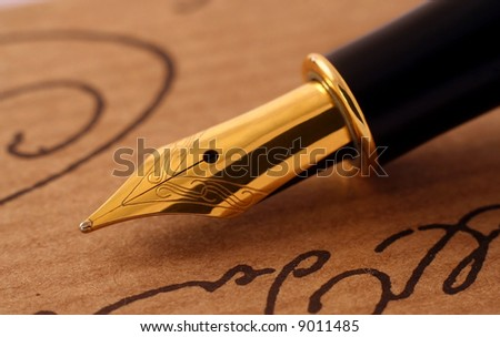 Antique fountain-pen close-up - stock photo