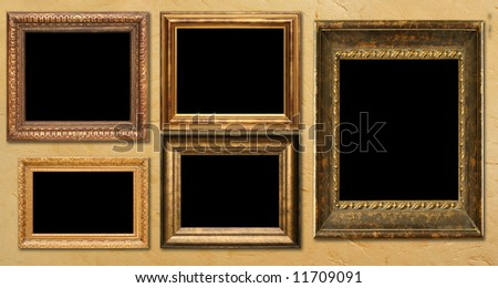Antique frame collection, hanging on a wall. Add your own text or pictures. - stock photo