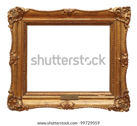 antique frame is very old with cracks and uneven  with Clipping Path - stock photo