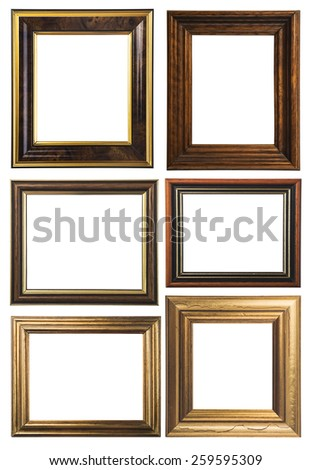 Antique frame isolated on white background - stock photo