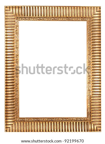 antique frame isolated on white background . gold picture frame. - stock photo