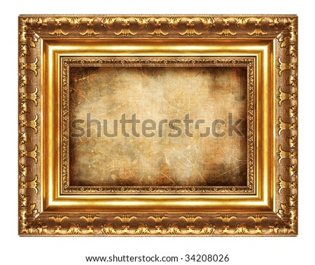 antique frame with old canvas - stock photo
