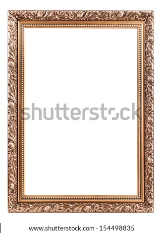 Antique frame with ornaments, isolated on white - stock photo