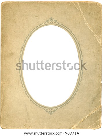 Antique frame with work path. Some grunge intact. - stock photo
