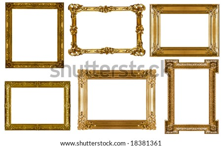 Antique frames collection isolated on white background - stock photo