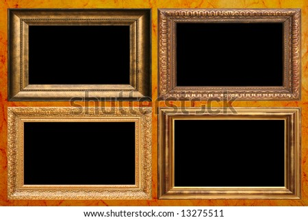 Antique frames on vintage wallpaper. Add your own text. - stock photo