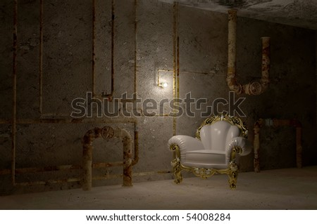 Antique furniture against the background of the old walls