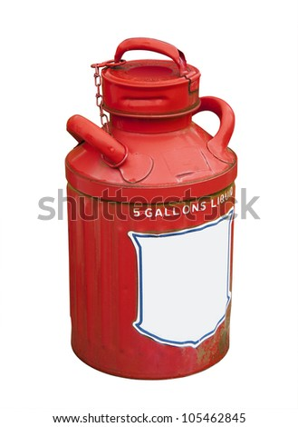 antique 5 gallon gasoline can - stock photo