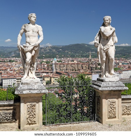 antique garden statues in Bardini Garden and spectacular view of Florence, Tuscany, Italy, Europe - stock photo