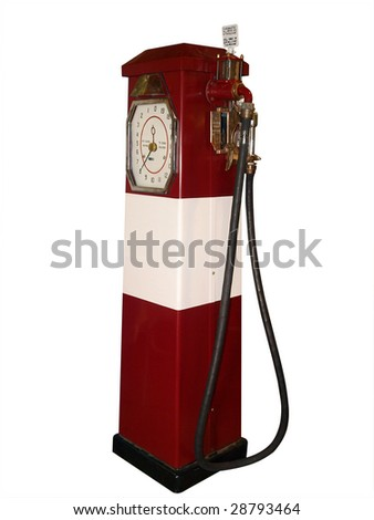 Antique Gas Pump isolated with clipping path - stock photo