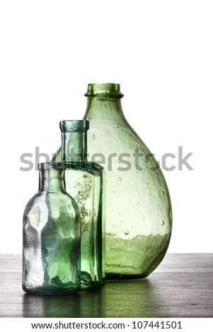 Antique glass bottles - stock photo