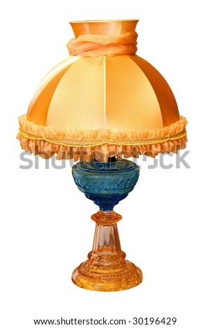 Antique glass lamp isolated included clipping path - stock photo