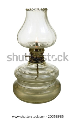 antique glass oil lamp on white