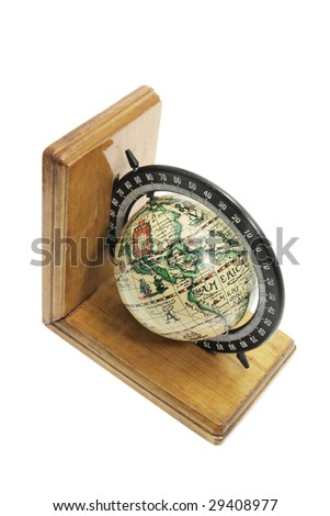 Antique Globe Bookend on White Background