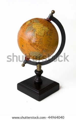 antique globe, orange and wood, isolated on white background - stock photo
