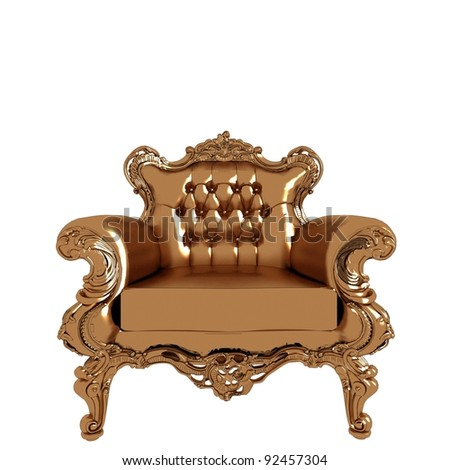Antique Gold Armchair On White 12