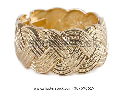antique gold bracelet on white - stock photo