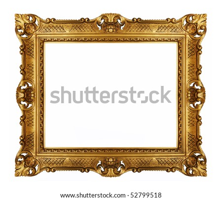 antique gold frame isolated - stock photo