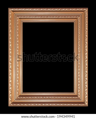 Antique gold frame isolated on black background