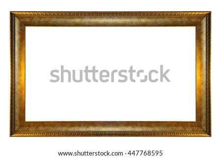 Antique gold frame isolated on white background - stock photo