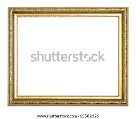 antique gold frame on a white background - stock photo