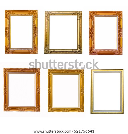 Antique gold frame on isolated background