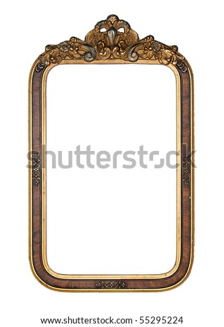 Antique gold frame with a decorative pattern. - stock photo