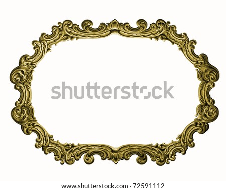 Antique gold picture frame isolated on white background   (See my portfolio for more) - stock photo