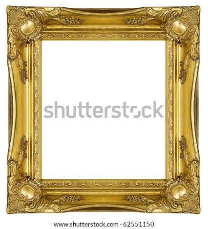 Antique Gold Picture Frame, with clipping path - stock photo