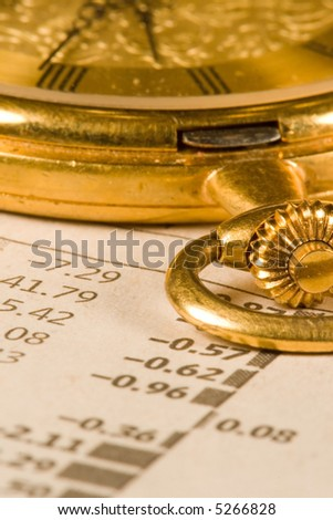 Antique gold pocket watch - stock photo
