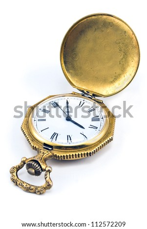 Antique gold pocket watch isolated on white - stock photo