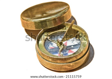 Antique golden compass from North America - Canada - stock photo