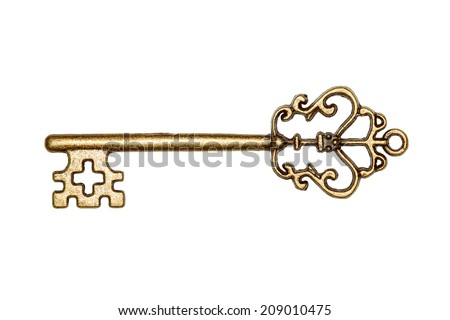 antique golden door key isolated on white background - stock photo