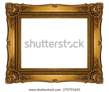 Antique golden frame isolated on white background, Clipping path included (outside and inside) - stock photo