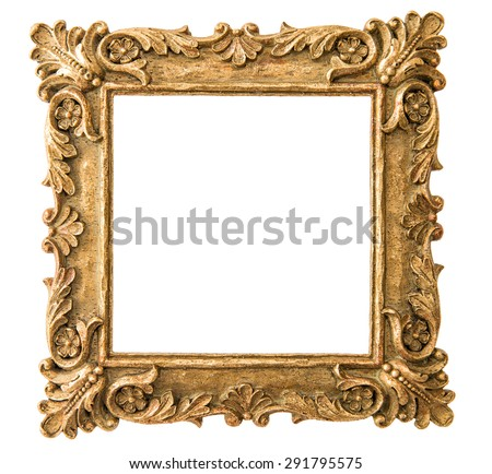 Antique golden frame isolated on white background. Retro style object - stock photo