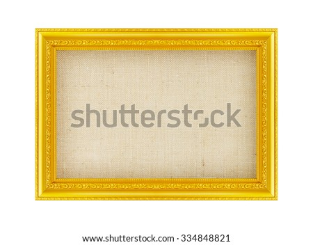 Antique golden frame with empty grunge linen canvas for your picture, photo, image.   Beautiful vintage frame - stock photo