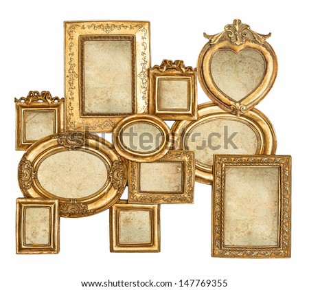 antique golden framework isolated on white background. empty baroque frame with canvas for photo and picture - stock photo