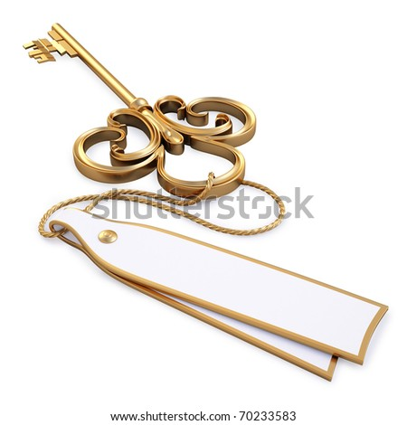 antique golden key with blank card. isolated on white. with clipping path. - stock photo