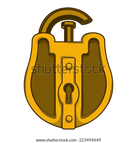 Antique golden lock isolated on a white background. Color line art. Retro design. Raster copy. - stock photo