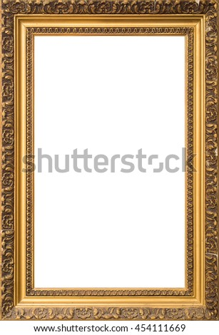 antique golden old broken cracked wooden frame isolated on white background