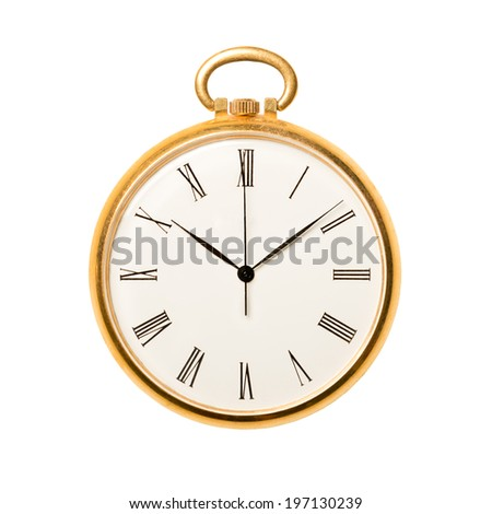 Antique golden pocket watch isolated on white background. Concept of time, past or deadline  - stock photo