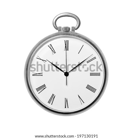 Antique golden pocket watch isolated on white background, monochrome. Concept of time, past or deadline - stock photo