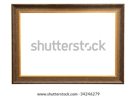 Antique golden wood frame including clipping path