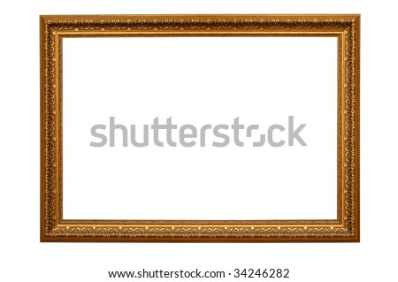 Antique golden wood frame including clipping path - stock photo