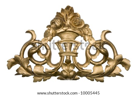 Antique golden wood ornament isolated on white - stock photo