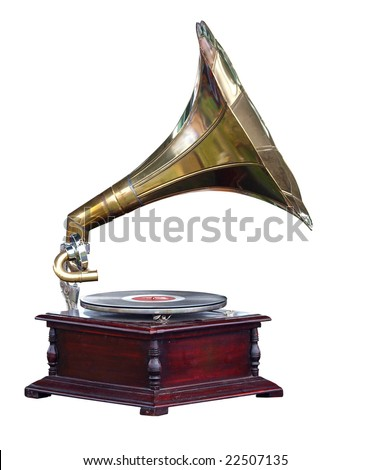 Antique Gramophone isolated with clipping path - stock photo