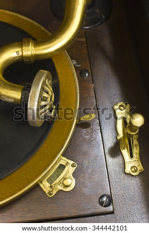 Antique Gramophone Phonograph I - Vintage Gramophone Phonograph Closeup With Turntable and Needle - stock photo