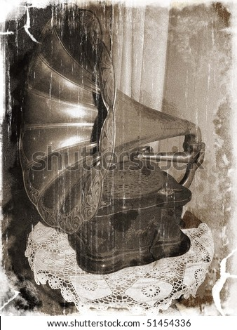 Antique gramophone (vintage style) - stock photo